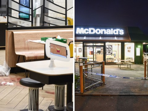 Blood splatters McDonald's floor after stabbing victim ran inside for help