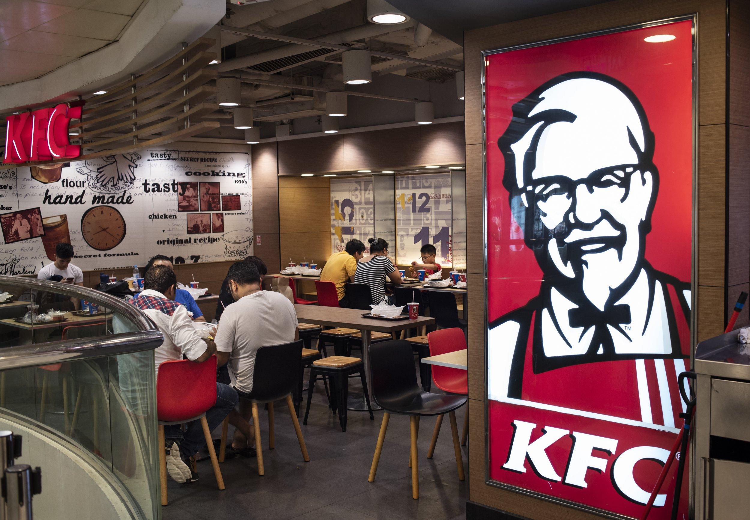 JORDAN, KOWLOON, HONG KONG - 2018/07/06: Kentucky Fried Chicken brand logo and restaurant in Mong Kok, Hong Kong. (Photo by Miguel Candela/SOPA Images/LightRocket via Getty Images)