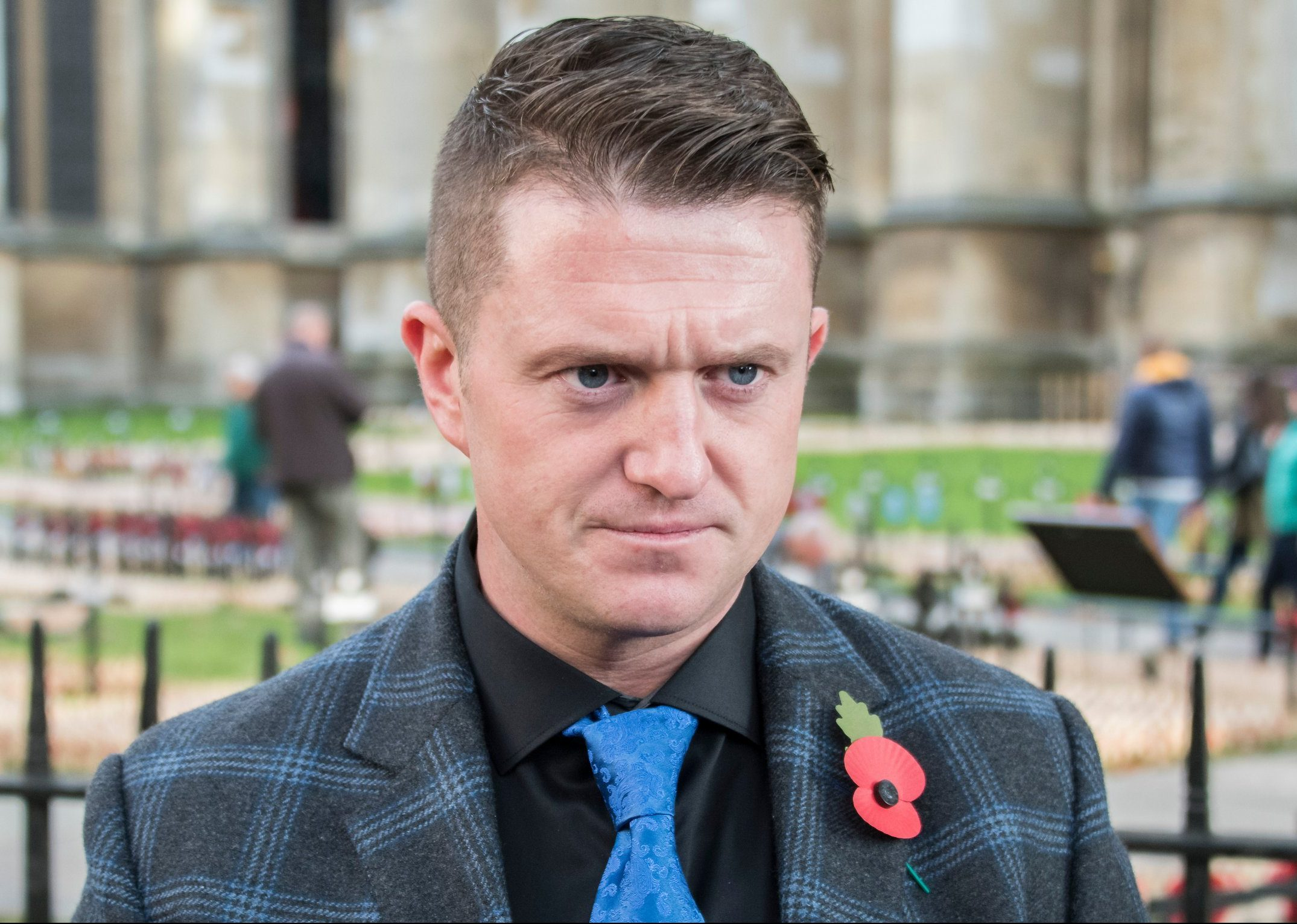 Mandatory Credit: Photo by Guy Bell/REX (9968761al) Tommy Robinson makes a video outside while preperations for the Royal British Legion, Field of Remembrance at Westminster Abbey take place. Field of Remembrance preparations, London, UK - 06 Nov 2018