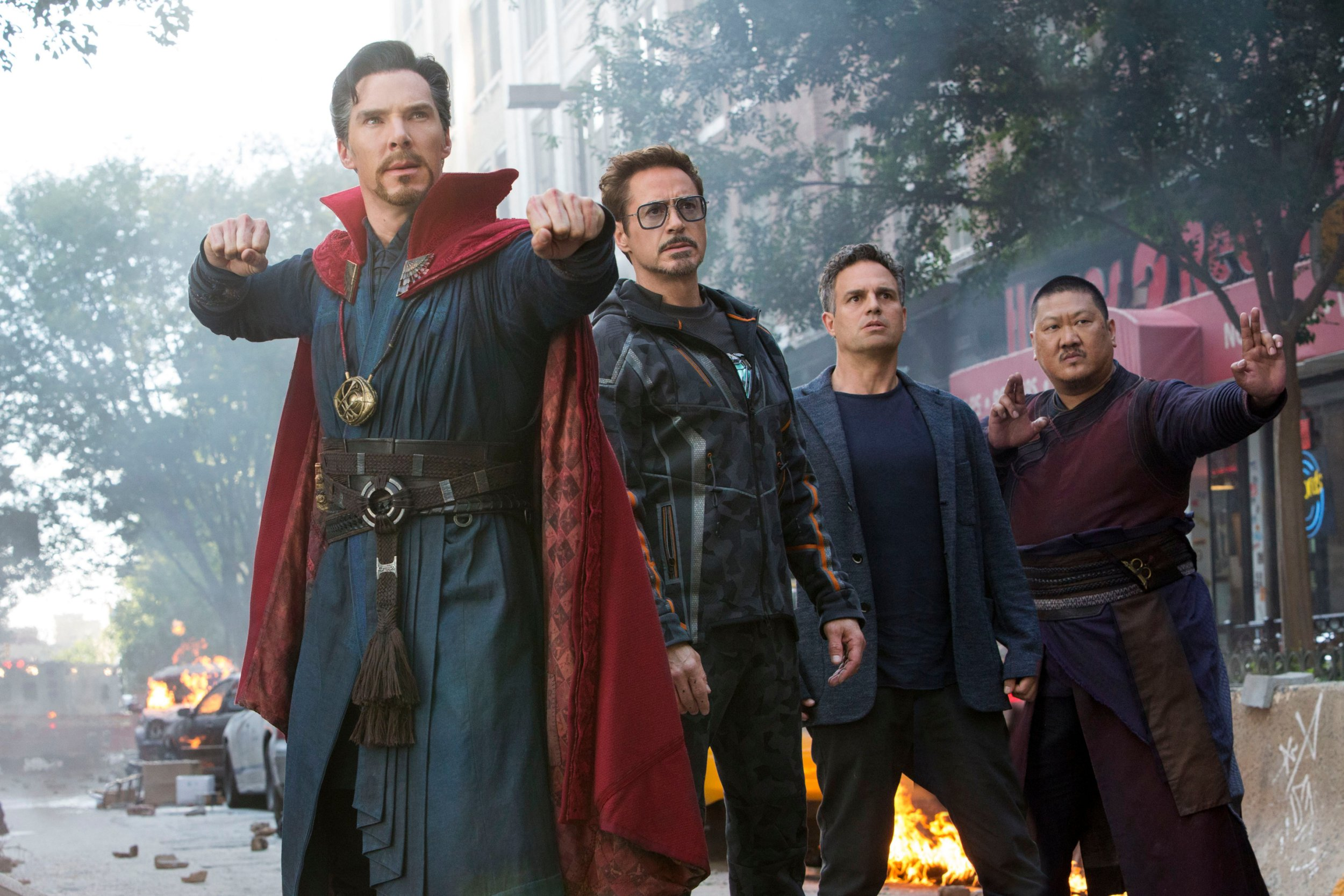 "Editorial use only. No book cover usage. Mandatory Credit: Photo by C Zlotnick/Marvel/Disney/Kobal/REX/Shutterstock (9641147j) Benedict Cumberbatch, Robert Downey Jr., Mark Ruffalo, Benedict Wong ""Marvel's Avengers: Infinity War"" Film - 2018"