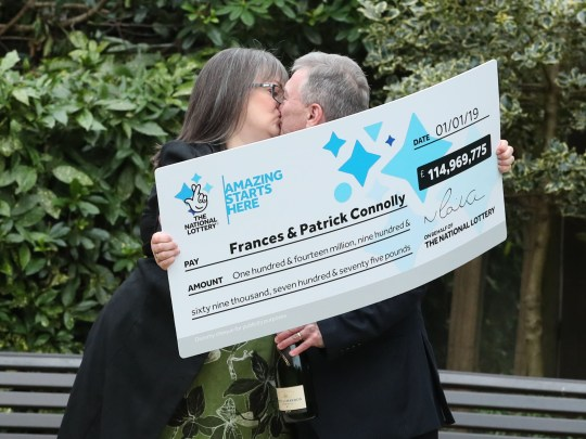 Frances Connolly, 52, and Patrick Connolly, 54, from Moira in Northern Ireland, who scooped a ?115 million EuroMillions jackpot in the New Year's Day lottery draw, during a photocall at the Culloden Estate and Spa in Holywood, Belfast, as they announce their win. PRESS ASSOCIATION Photo. Picture date: Friday January 4, 2019. They won a total of ?114,969,775.70, making them the fourth biggest UK lottery winners in history. In the New Year's Day draw 10 other players took home ?1 million in prize money each.See PA story LOTTERY EuroMillions. Photo credit should read: Liam McBurney/PA Wire
