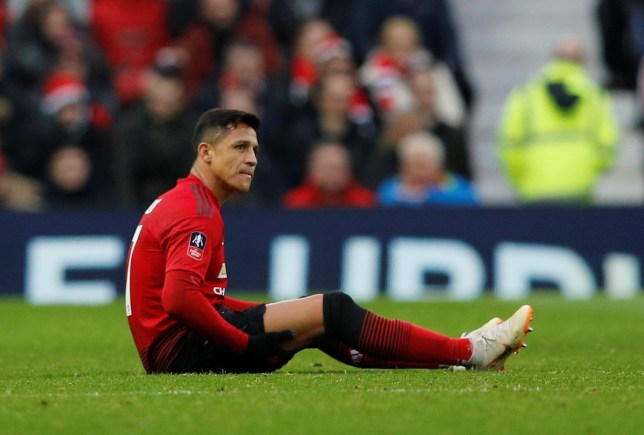 Soccer Football - FA Cup Third Round - Manchester United v Reading - Old Trafford, Manchester, Britain - January 5, 2019 Manchester United's Alexis Sanchez reacts after sustaining an injury REUTERS/Phil Noble