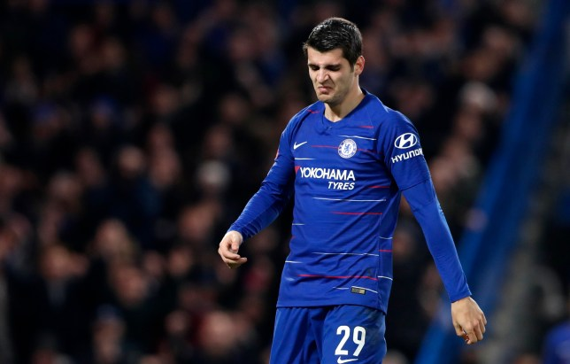 Chelsea's Alvaro Morata reacts after scoring his side's second goal during the English FA Cup third round soccer match between Chelsea and Nottingham Forest at Stamford Bridge in London, Saturday, Jan. 5, 2019. (AP Photo/Alastair Grant)