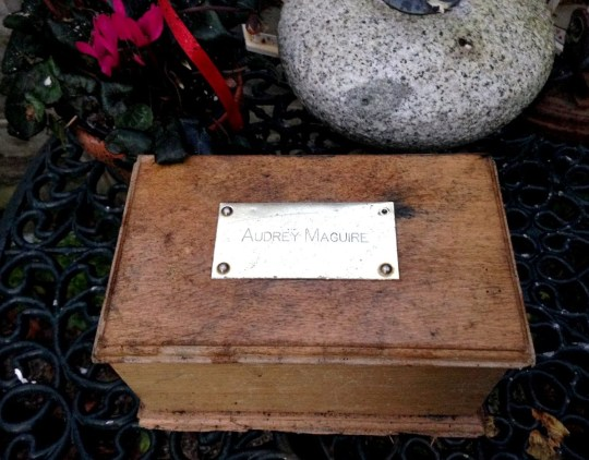 BNPS.co.uk (01202 558833) Pic: BournemouthEcho/BNPS A wooden box containing a dead woman's ashes has been found washed up on a south coast beach. Lesley Dedman made the surprising discovery while walking her dogs on Avon Beach at Christchurch, Dorset. The 8ins by 4ins timber box has a brass plaque bearing the name Audrey Maguire on the lid. It is thought the box was deliberately dropped into the sea by a grieving relative but was swept onto the shore by recent south westerly storms.