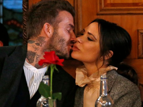 244e0c2a797646 Victoria and David Beckham have all the feels for each other as they kiss  at London Fashion Week