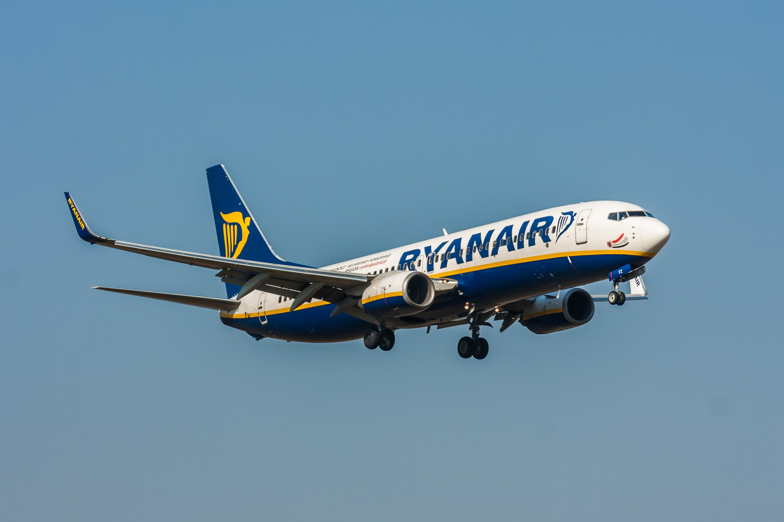 Prague, Czech Republic - March 18, 2015: Boeing B 737 of Ryanair on short final. Image was taken at Vaclav Havel airport.