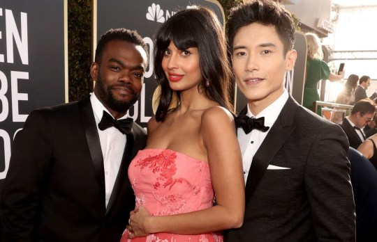 BEVERLY HILLS, CA - JANUARY 06: 76th ANNUAL GOLDEN GLOBE AWARDS -- Pictured: (l-r) William Jackson Harper, Jameela Jamil, and Manny Jacinto arrives to the 76th Annual Golden Globe Awards held at the Beverly Hilton Hotel on January 6, 2019. -- (Photo by Todd Williamson/NBC/NBCU Photo Bank)
