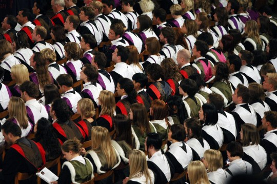"""File photo dated 27/6/2008 of students at a University graduation ceremony. Sir Michael Barber, chairman of the Office for Students (OfS) has said that students should learn to deal with """"uncomfortable"""" ideas through debate and not suppress them on campuses."""