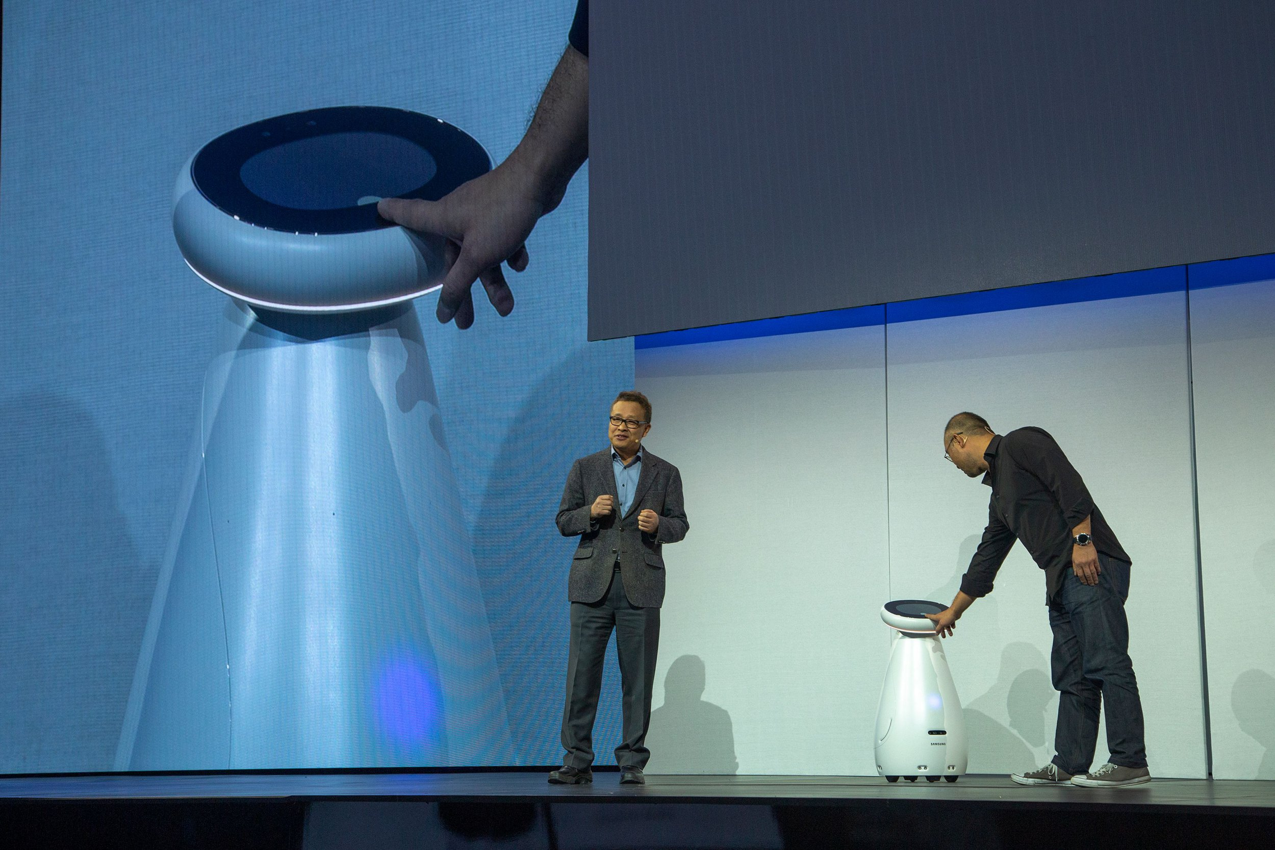 Samsung Electronics Senior Vice President Gary Lee (L) and Samsung Electronics America Senior Vice President Yoon Lee (R) demonstrate the Samsung Bot Care at the Samsung press conference at the Mandalay Bay Convention Center during CES 2019 in Las Vegas on January 7, 2019. (Photo by DAVID MCNEW / AFP)DAVID MCNEW/AFP/Getty Images