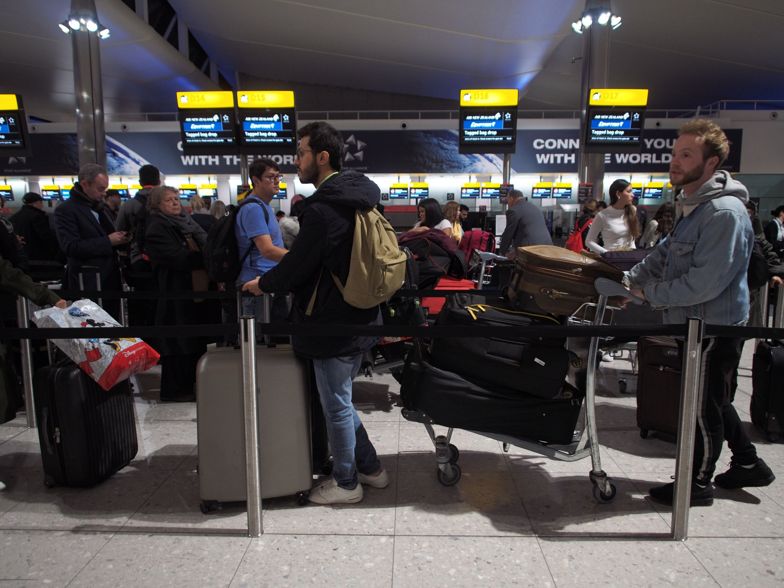 """Passengers in Terminal 2 at Heathrow airport after departures were temporarily suspended following """"reports of drones"""" at the airport. PRESS ASSOCIATION Photo. Picture date: Tuesday January 8, 2019. The west London hub apologised for any disruption caused to passengers after flights were suspended for around an hour. See PA story AIR Drone. Photo credit should read: Yui Mok/PA Wire"""