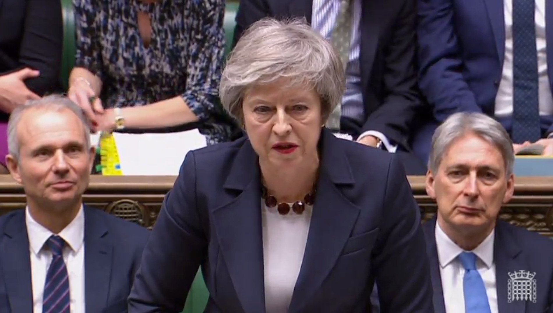 """A video grab from footage broadcast by the UK Parliament's Parliamentary Recording Unit (PRU) Britain's Prime Minister Theresa May as she speaks during the weekly Prime Minister's Questions (PMQs) in the House of Commons in London on January 9, 2019. - British MPs on Wednesday begin five days of debate ahead of a historic delayed vote on Prime Minister Theresa May's Brexit deal, a day after giving her a stinging blow aimed at preventing the country from crashing out of the EU with no agreement. (Photo by HO / PRU / AFP) / RESTRICTED TO EDITORIAL USE - MANDATORY CREDIT """" AFP PHOTO / PRU """" - NO USE FOR ENTERTAINMENT, SATIRICAL, MARKETING OR ADVERTISING CAMPAIGNSHO/AFP/Getty Images"""