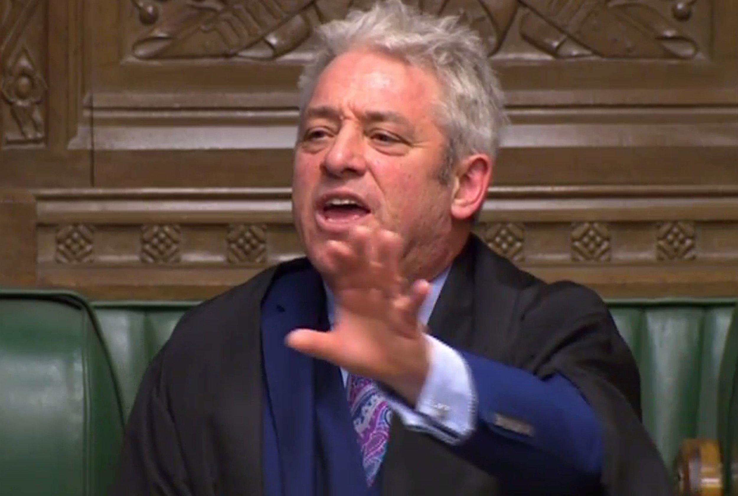 """A video grab from footage broadcast by the UK Parliament's Parliamentary Recording Unit (PRU) shows Speaker of the House of Commons John Bercow speaking in the House of Commons regarding the selection for a vote of an ammendment to the Brexit withdrawl bill in London on January 9, 2019. - Britain's government suffered another setback on January 9, 2019 as MPs voted to force it to announce within three sitting days what steps it will take next if its Brexit deal is rejected by parliament next week as appears likely. (Photo by HO / PRU / AFP) / RESTRICTED TO EDITORIAL USE - MANDATORY CREDIT """" AFP PHOTO / PRU """" - NO USE FOR ENTERTAINMENT, SATIRICAL, MARKETING OR ADVERTISING CAMPAIGNSHO/AFP/Getty Images"""
