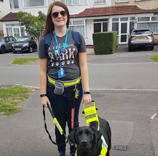 Megan with her dog Rowley was shouted at on a bus by a woman who didn't believe Rowley was an assistance dog Supplied pic Credit: Liverpool Echo