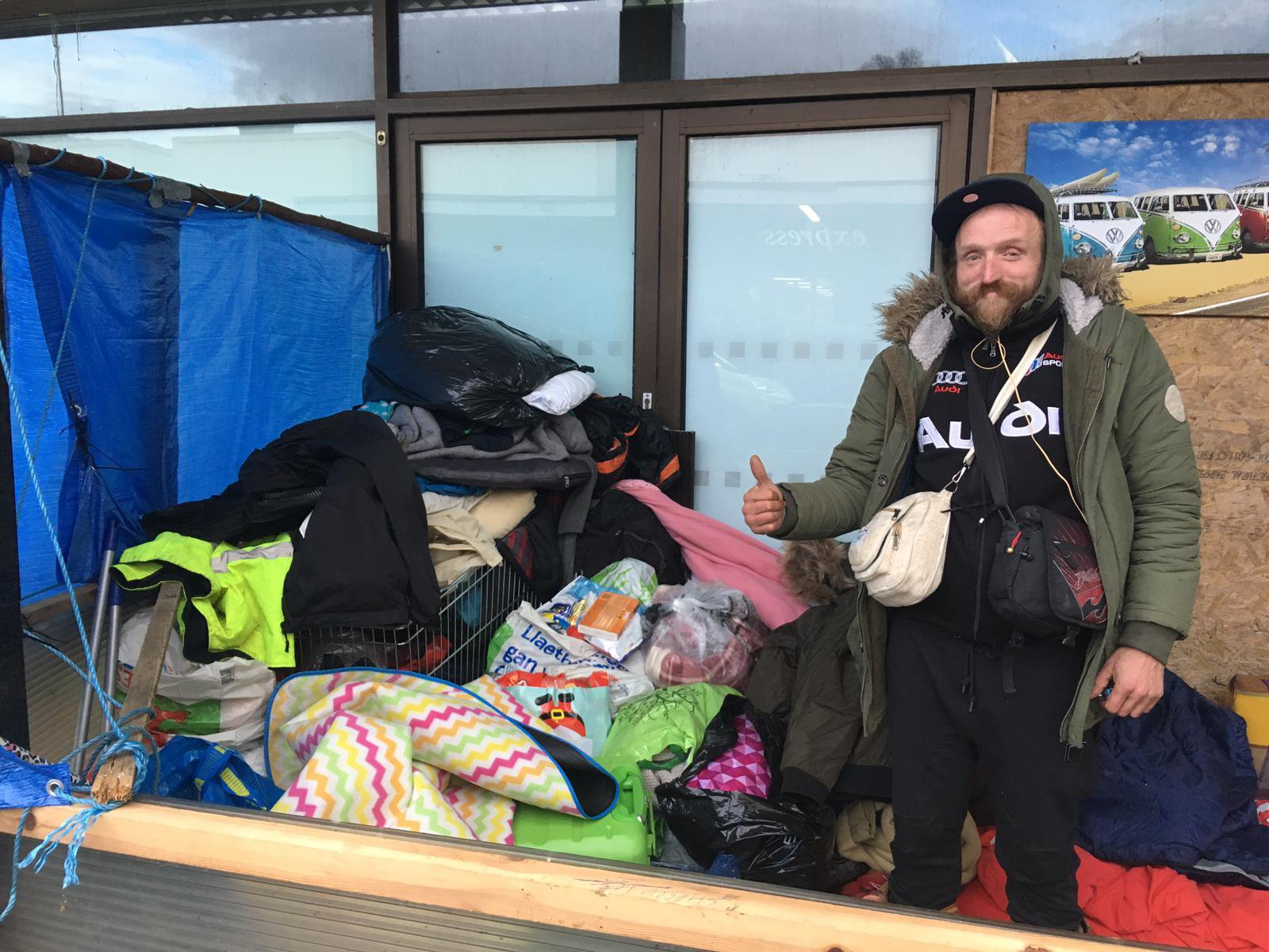 A homeless man who lived in a wooden shelter by a Marks and Spencer store has now been forced to leave. Craig Churchill, 38, had been sleeping rough outside the entrance to the former Marks and Spencer store on Taff Street in Pontypridd. Credit: Media Wales (not Wales News Service!)