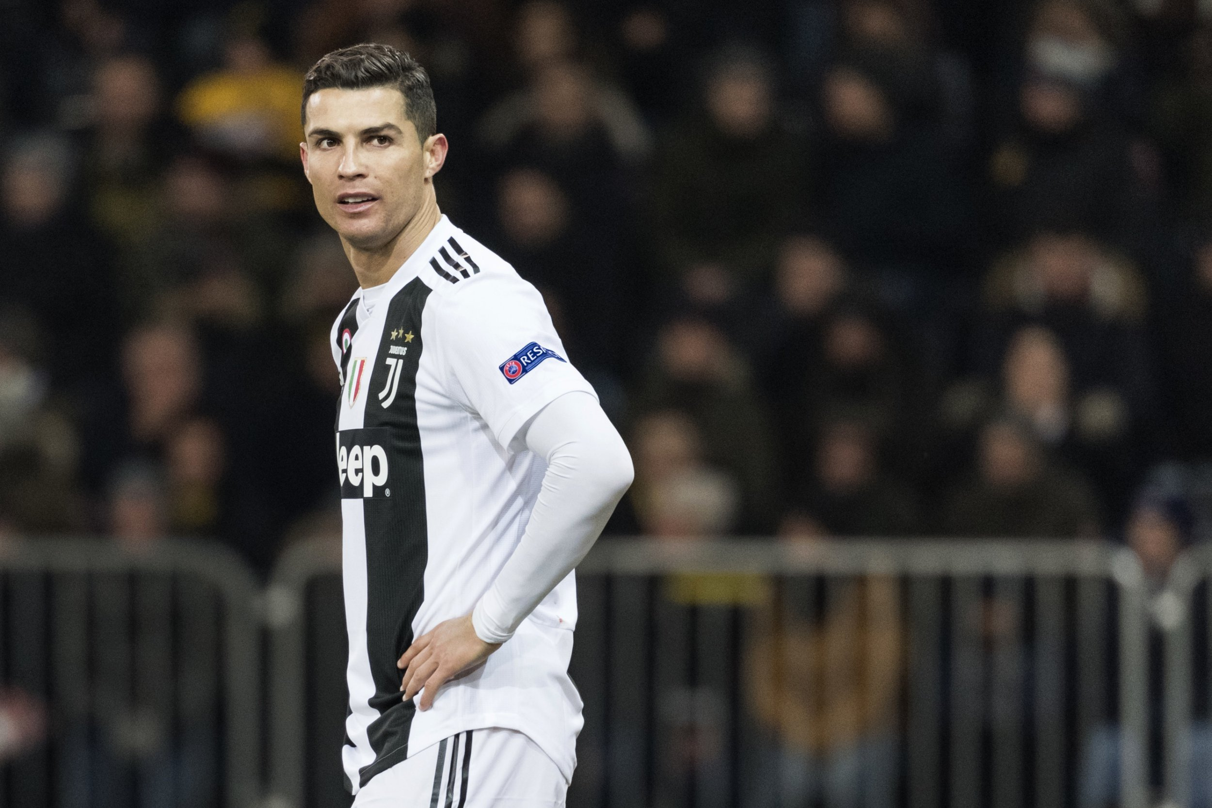 FILE - In this Dec. 12, 2018, file photo, Juventus' Cristiano Ronaldo reacts during the Champions League match at the Stade de Suisse in Bern, Switzerland. Police in Las Vegas say they are still investigating a Nevada woman's claim that Cristiano Ronaldo raped her in his Las Vegas hotel penthouse in 2009. (Alessandro della Valle/Keystone via AP, File)