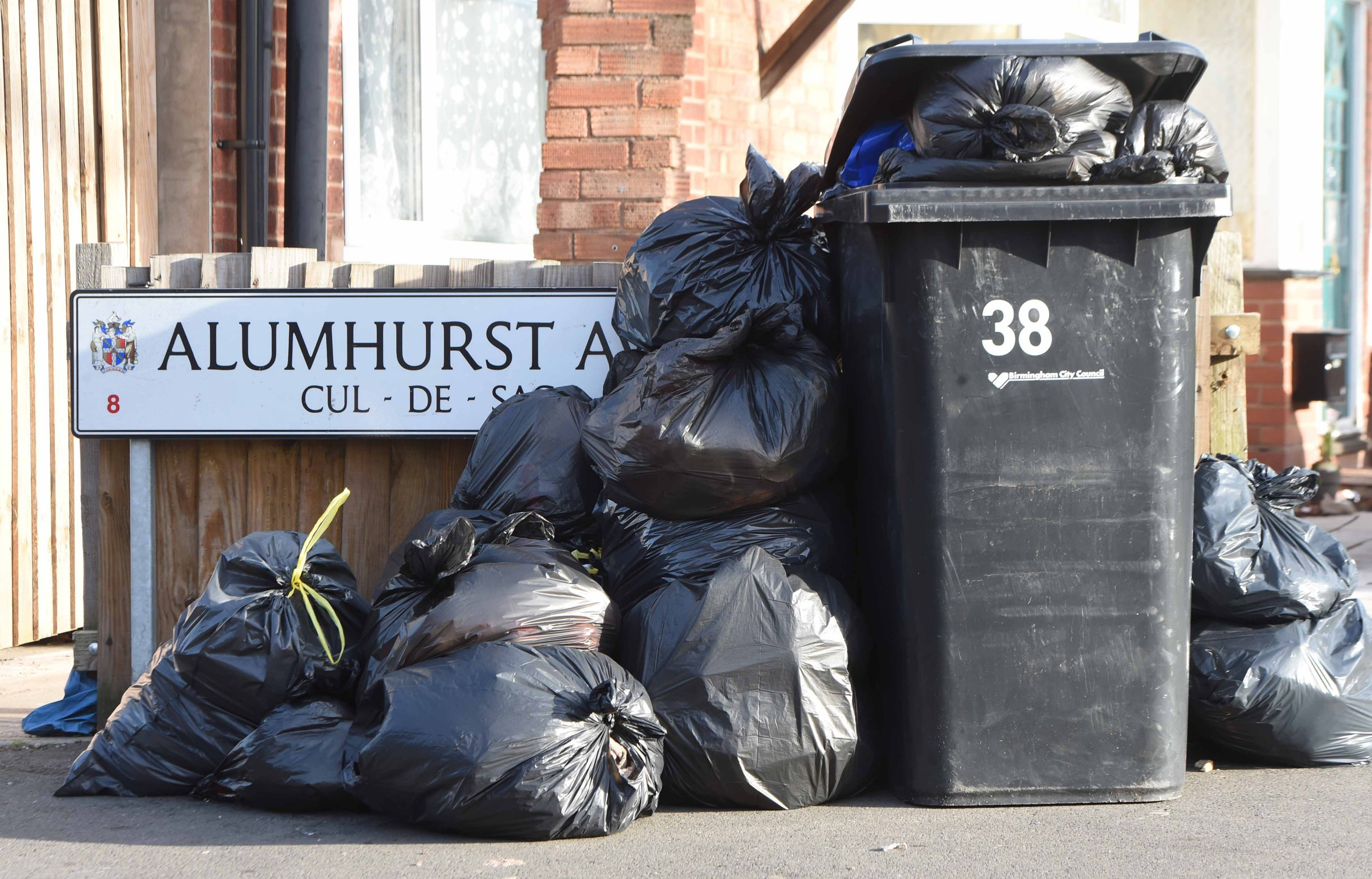 Birmingham is bracing itself for more bin chaos after workers voted to take industrial action - triggering the prospect of even MORE rubbish piling up across the city. Around 30 members of the Unison trade union will work-to-rule and shun overtime after voting unanimously to come out in solidarity with their Unite colleagues. Caption: Bin bags and rubbish piling up outside homes on Alumhurst Avenue in Alum Rock, Birmingham, on January 9, 2019