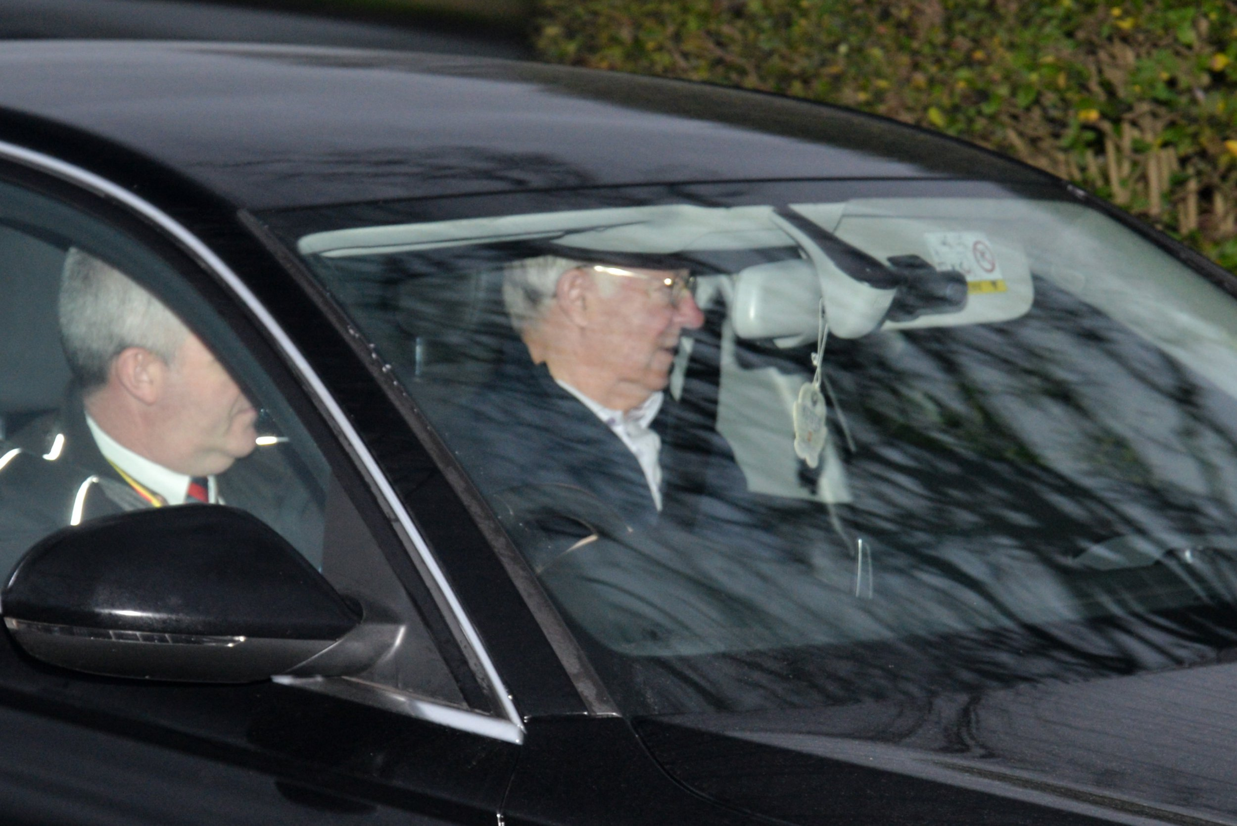 Sir Alex Ferguson being driven to Manchester United's AON training complex in Carrington ahead of their crucial EPL game against Tottenham tomorrow (Sunday) at Wembley. Saturday 12th January 2019