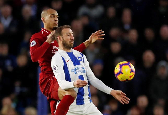 """Soccer Football - Premier League - Brighton & Hove Albion v Liverpool - The American Express Community Stadium, Brighton, Britain - January 12, 2019 Brighton's Glenn Murray in action with Liverpool's Fabinho Action Images via Reuters/Paul Childs EDITORIAL USE ONLY. No use with unauthorized audio, video, data, fixture lists, club/league logos or """"live"""" services. Online in-match use limited to 75 images, no video emulation. No use in betting, games or single club/league/player publications. Please contact your account representative for further details."""