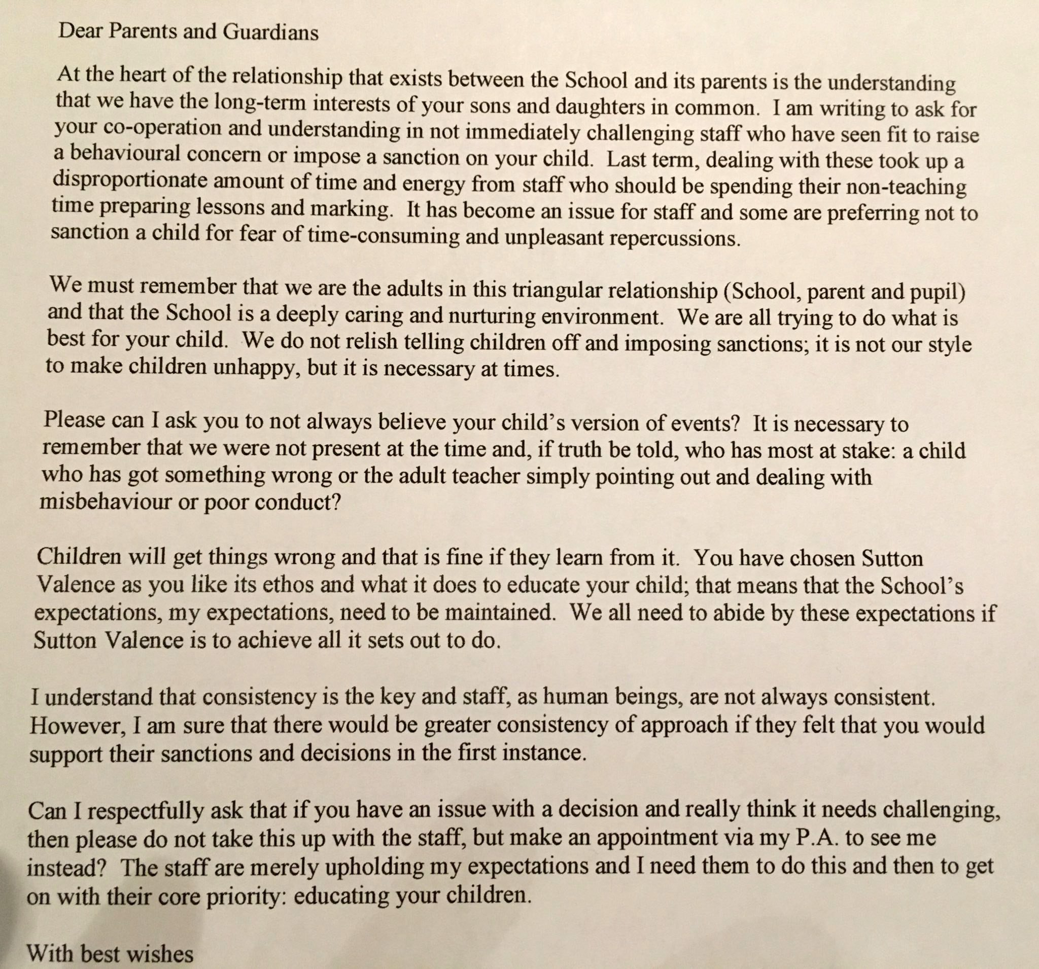 Letter to parents Sutton Valence School near Maidstone, Kent (Picture: @CREducATE)