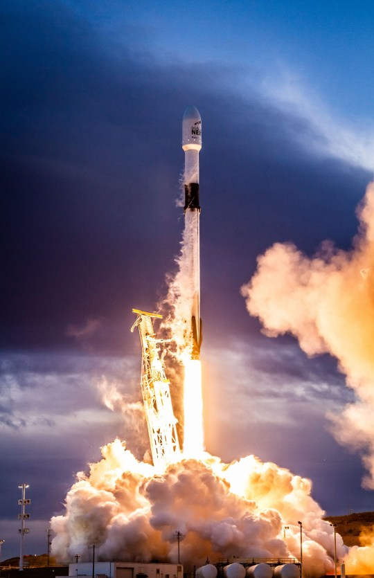 "SpaceX successfully launched the eighth and final set of satellites for Iridium?s next-generation global satellite constellation, Iridium NEXT, on January 11, 2019, from Vandenberg Air Force Base in California. Falcon 9's first stage delivered the second stage to its targeted orbit followed by deployment of all 10 Iridium NEXT satellites. Following stage separation, the first stage of Falcon 9 successfully landed on SpaceX's ""Just Read the Instructions"" drone-ship stationed in the Pacific Ocean. Falcon 9's first stage for the Iridium-8 mission previously supported the Telstar 18 VANTAGE mission in September 2018. Photo by SpaceX/UPIPHOTOGRAPH BY UPI / Barcroft Images"