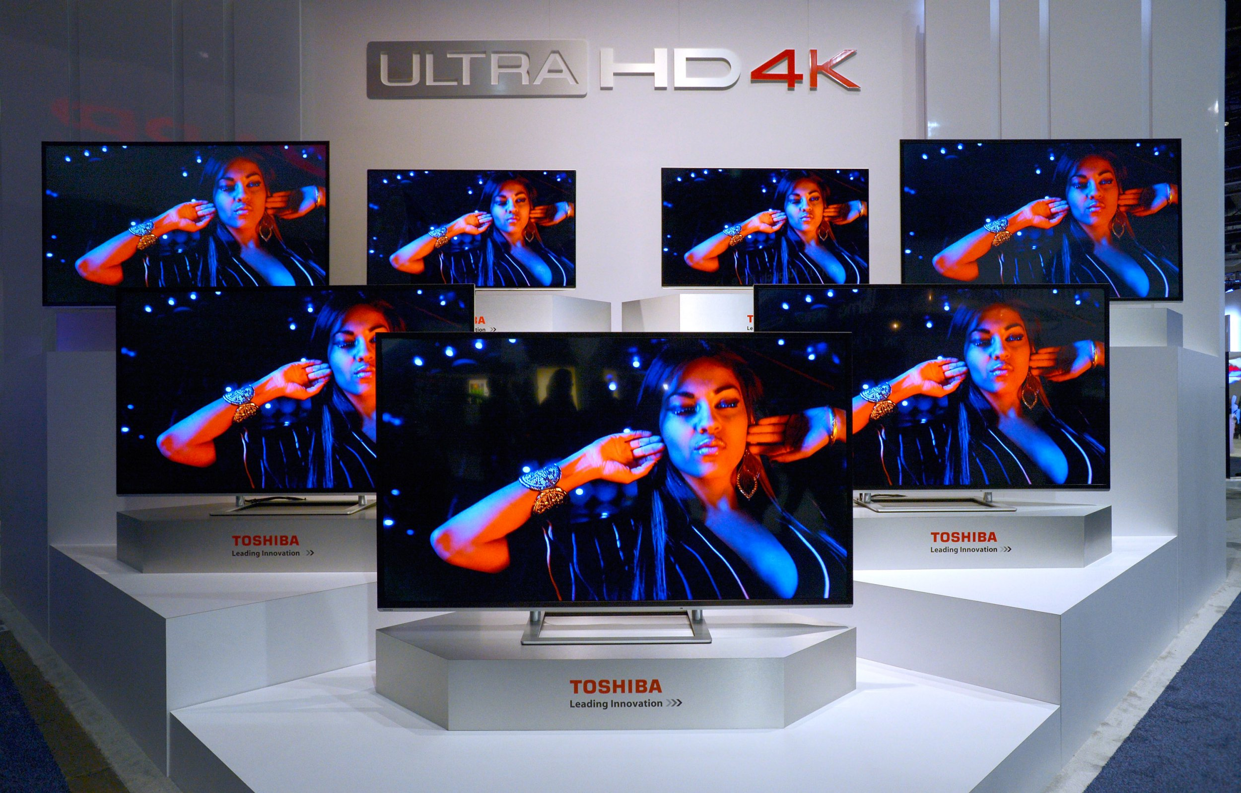 LAS VEGAS, NV - JANUARY 07: Toshiba Ultra HD 4K televisions are on display at the Toshiba booth at the 2014 International CES at the Las Vegas Convention Center on January 7, 2014 in Las Vegas, Nevada. CES, the world's largest annual consumer technology trade show, runs through January 10 and is expected to feature 3,200 exhibitors showing off their latest products and services to about 150,000 attendees. (Photo by David Becker/Getty Images)