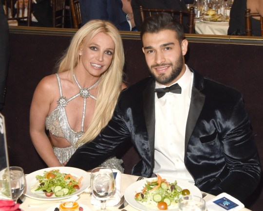 BEVERLY HILLS, CA - APRIL 12: (EDITORS NOTE: Recrop of image number 945532332) Honoree Britney Spears (L) and Sam Asghari attend the 29th Annual GLAAD Media Awards at The Beverly Hilton Hotel on April 12, 2018 in Beverly Hills, California. (Photo by J. Merritt/Getty Images for GLAAD)