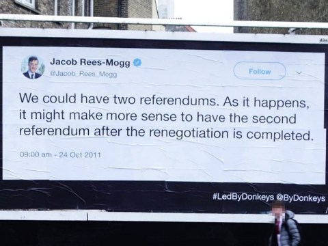 Past of top Brexiteers comes back to haunt them on massive billboards