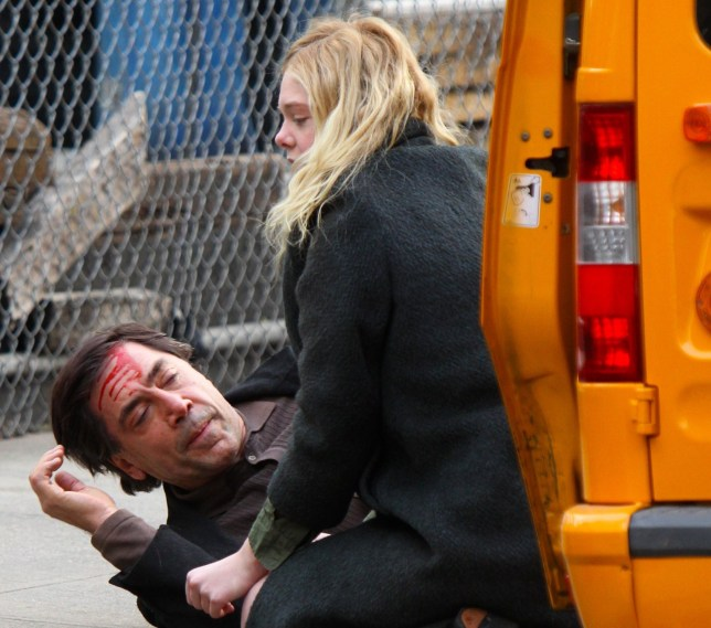 "Javier Bardem pictured with a boody cut in his head as he films a scene with Elle Fanning at the ""Molly"" movie set in Brooklyn Pictured: Elle Fanning and Javier Bardem Ref: SPL5055925 170119 NON-EXCLUSIVE Picture by: Jose Perez / SplashNews.com Splash News and Pictures Los Angeles: 310-821-2666 New York: 212-619-2666 London: 0207 644 7656 Milan: 02 4399 8577 photodesk@splashnews.com World Rights,"