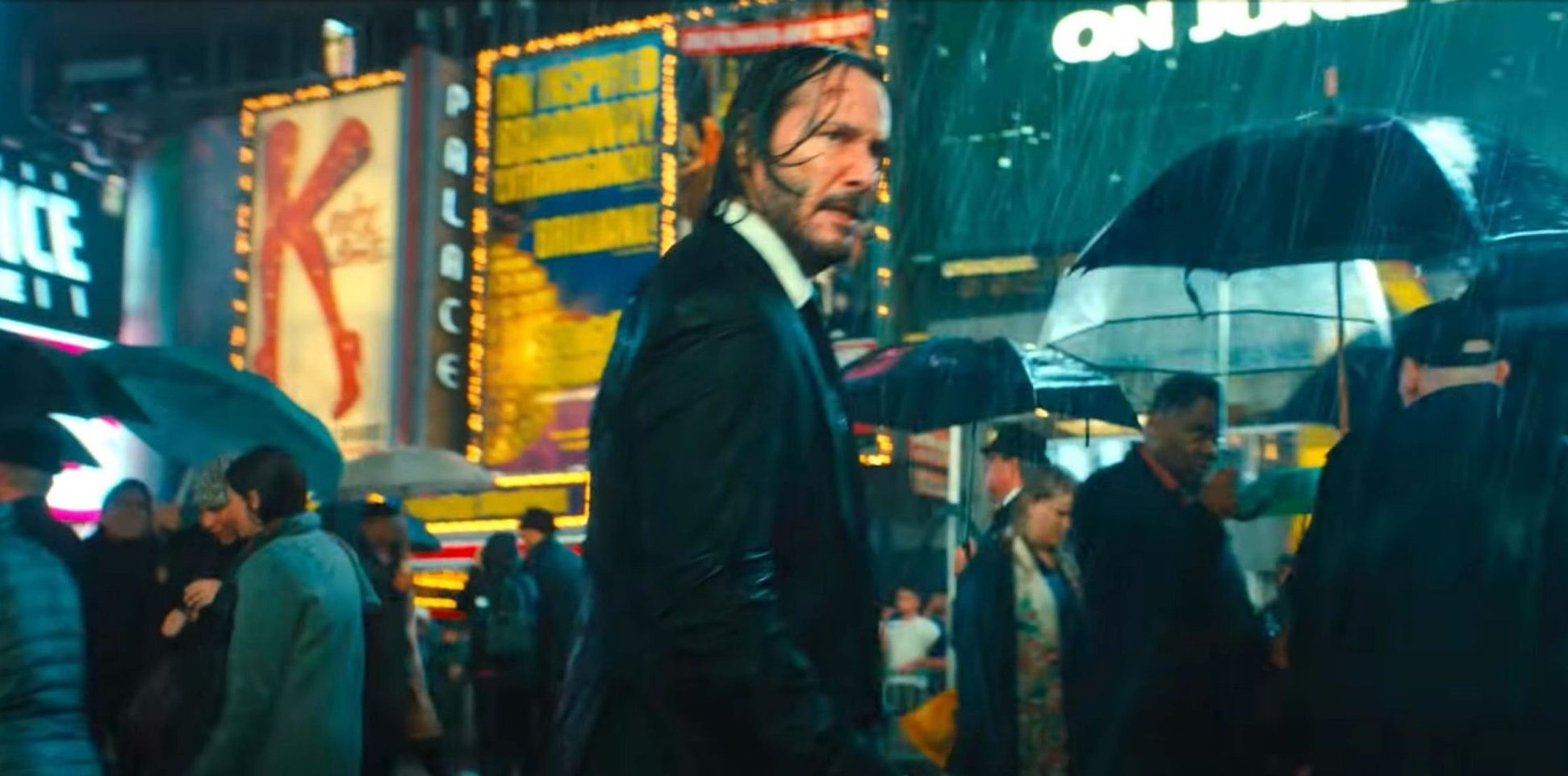"""BGUK_1459326 - ** RIGHTS: WORLDWIDE EXCEPT IN UNITED STATES ** Los Angeles, CA - First look at Keanu Reeves and Halle Berry in John Wick 3: Parabellum trailer. Keanu Reeves is back with a vengeance - with his trusty dog at his side. The official trailer for the film has been released and features the leading man running through Times Square and the gritty streets of New York. Picking up where the second film left off, John Wick has been excommunicated from the assassin organisation with a bounty on his head. As Wick is seen running through the rainy streets of NY with his trusty dog, a voiceover ominously declares: """"There???s no escape for you. The High Table wants your life."""" In the third installment of the action franchise, John returns with a $14 million price tag on his head and an army of bounty-hunting killers on his trail. After killing a member of the shadowy international assassin???s guild, the High Table, John Wick is excommunicado but the world???s most ruthless hit men and women await his every turn. Ruby Rose, Ian McShane, Laurence Fishburne and Lance Reddick will reprise their roles in the franchise while Oscar-winning actress Halle Berry also joins the cast s a character named Sofia, a fellow assassin and close friend of John's. Other stars featured in the trailer include Anjelica Huston and Game of Thrones star Jerome Flynn. John Wick 3: Parabellum opens worldwide on May 17, 2019. *BACKGRID DOES NOT CLAIM ANY COPYRIGHT OR LICENSE IN THE ATTACHED MATERIAL. ANY DOWNLOADING FEES CHARGED BY BACKGRID ARE FOR BACKGRID'S SERVICES ONLY, AND DO NOT, NOR ARE THEY INTENDED TO, CONVEY TO THE USER ANY COPYRIGHT OR LICENSE IN THE MATERIAL. BY PUBLISHING THIS MATERIAL , THE USER EXPRESSLY AGREES TO INDEMNIFY AND TO HOLD BACKGRID HARMLESS FROM ANY CLAIMS, DEMANDS, OR CAUSES OF ACTION ARISING OUT OF OR CONNECTED IN ANY WAY WITH USER'S PUBLICATION OF THE MATERIAL* Pictured: Keanu Reeves BACKGRID UK 17 JANUARY 2019 BYLINE MUST READ: Lionsgate / BACKGRID UK: +44 208 34"""