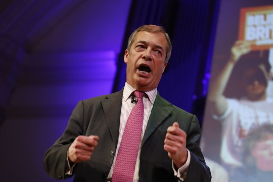 """MEP and former UKIP leader Nigel Farage speaks at a political rally entitled 'Lets Go WTO' hosted by pro-Brexit lobby group Leave Means Leave in London on January 17, 2019. - British Prime Minister Theresa May scrambled to put together a new Brexit strategy on Thursday after MPs rejected her EU divorce deal and demanded that she rule out a potentially disastrous """"no-deal"""" split. (Photo by Tolga AKMEN / AFP)TOLGA AKMEN/AFP/Getty Images"""
