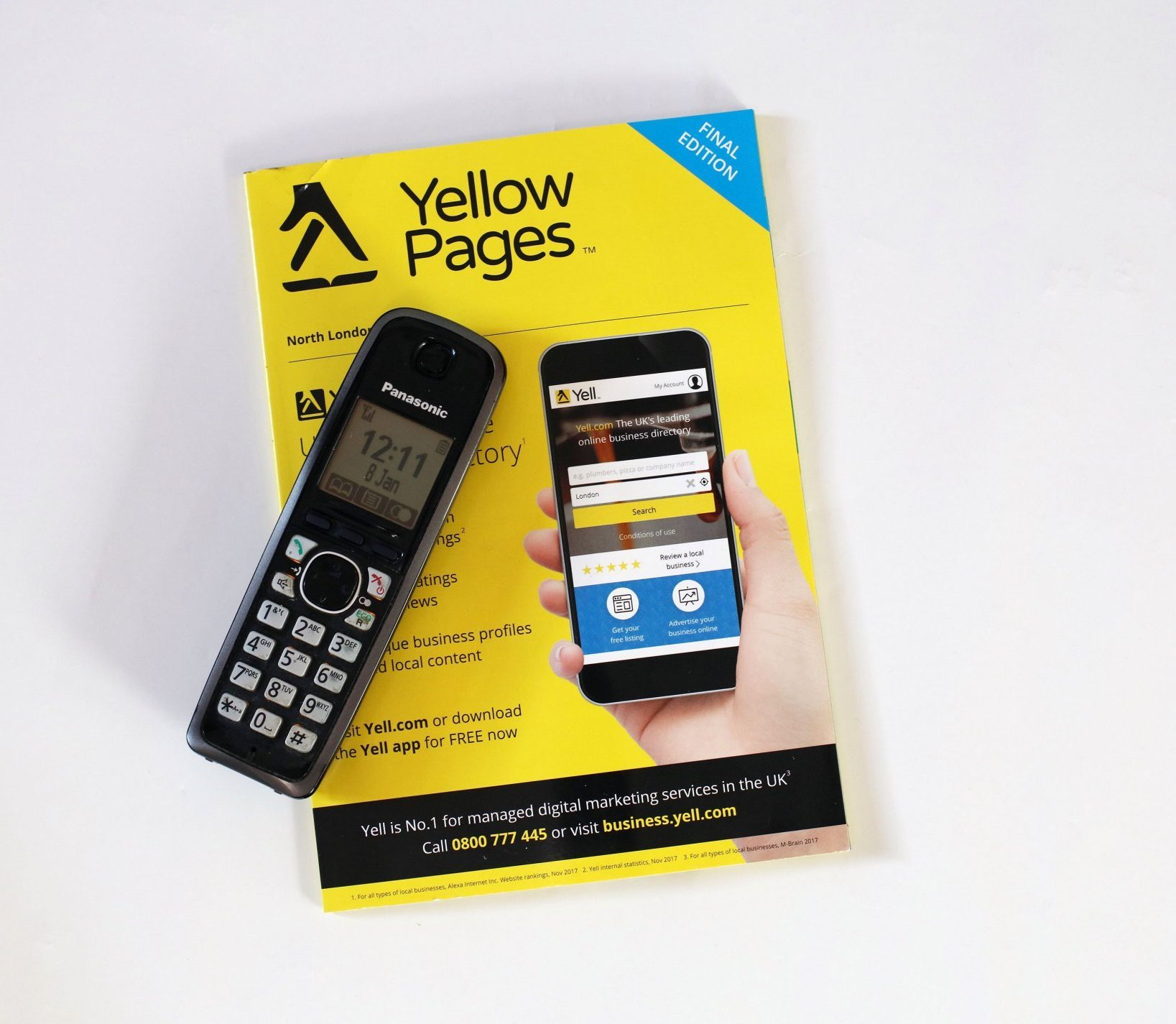 Mandatory Credit: Photo by Richard Gardner/REX/Shutterstock (10051584d) Final edition of Yellow Pages telephone directory with a telephone handset Final edition of the Yellow Pages, UK - 08 Jan 2019