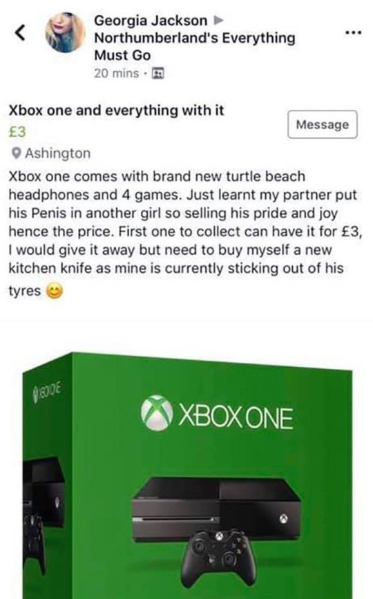 Mum sells 'cheating boyfriend's' Xbox for £3 online | Metro News