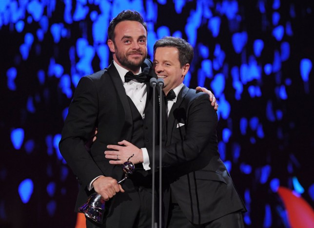 Mandatory Credit: Photo by David Fisher/REX/Shutterstock (9326102hb) Anthony McPartlin and Declan Donnelly - TV Presenter National Television Awards, Show, O2, London, UK - 23 Jan 2018
