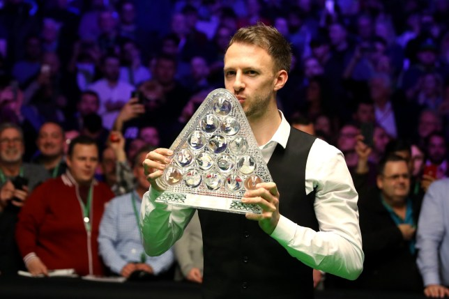 LONDON, ENGLAND - JANUARY 20: Judd Trump of England pose with the trophy following his win in The Dafabet Masters Final over Ronnie O'Sullivan of England at Alexandra Palace on January 20, 2019 in London, England. (Photo by Linnea Rheborg/Getty Images)