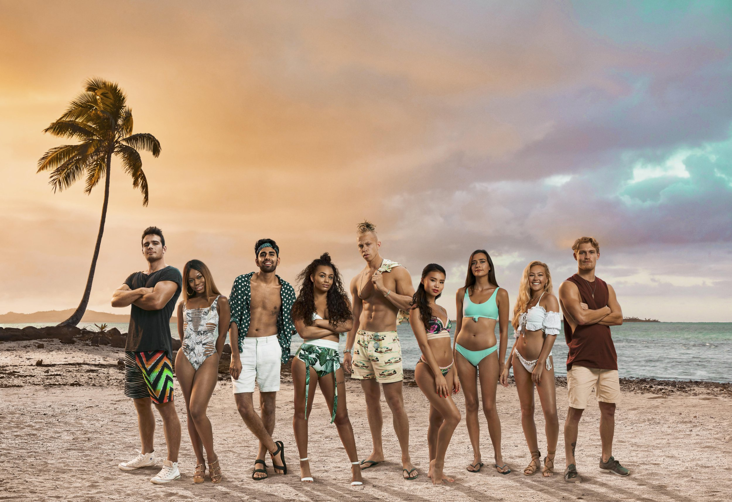 Shipwrecked's 2019 contestants Tom, Big T, Kush, Liv, Chris, Khalia, Emma, Hollie and Harry