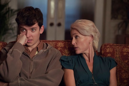 Editorial use only. No book cover usage. Mandatory Credit: Photo by Sam Taylor/Netflix/Kobal/REX/Shutterstock (10063277j) Asa Butterfield as Otis and Gillian Anderson as Jean 'Sex Education' TV Show Season 1 - 2019 A teenage boy with a sex therapist mother teams up with a high school classmate to set up an underground sex therapy clinic at school.