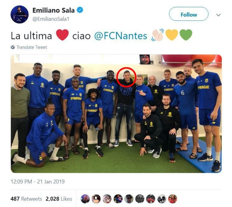 Screengrab taken from the Twitter account of Cardiff City new signing Emiliano Sala as he poses for a photo with former Nantes team-mates, with the caption reading: ?The final [heart emoji] goodbye @FCNantes.?. PRESS ASSOCIATION Photo. Issue date: Tuesday January 22, 2019. Cardiff's record signing Emiliano Sala was on board a plane that went missing over the English Channel on Monday night, French media have reported. See PA story SOCCER Cardiff. Photo credit should read: Emiliano Sala/Twitter/PA Wire. NOTE TO EDITORS: This handout photo may only be used in for editorial reporting purposes for the contemporaneous illustration of events, things or the people in the image or facts mentioned in the caption. Reuse of the picture may require further permission from the copyright holder.