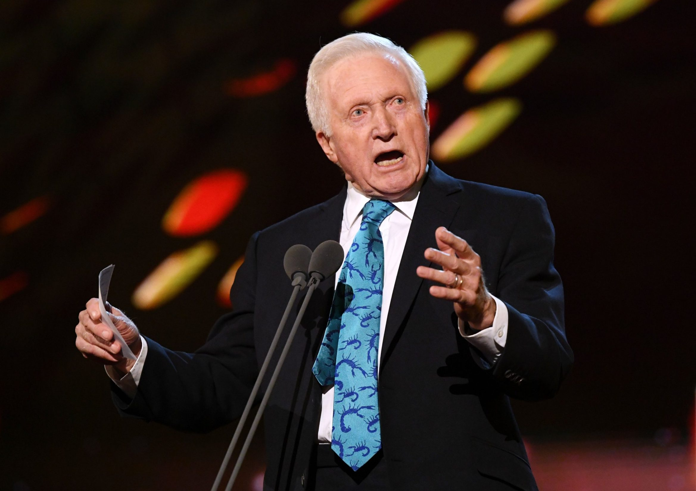 Mandatory Credit: Photo by David Fisher/REX (10069676ff) David Dimbleby - Special Recognition 23rd National Television Awards, Show, O2, London, UK - 22 Jan 2019