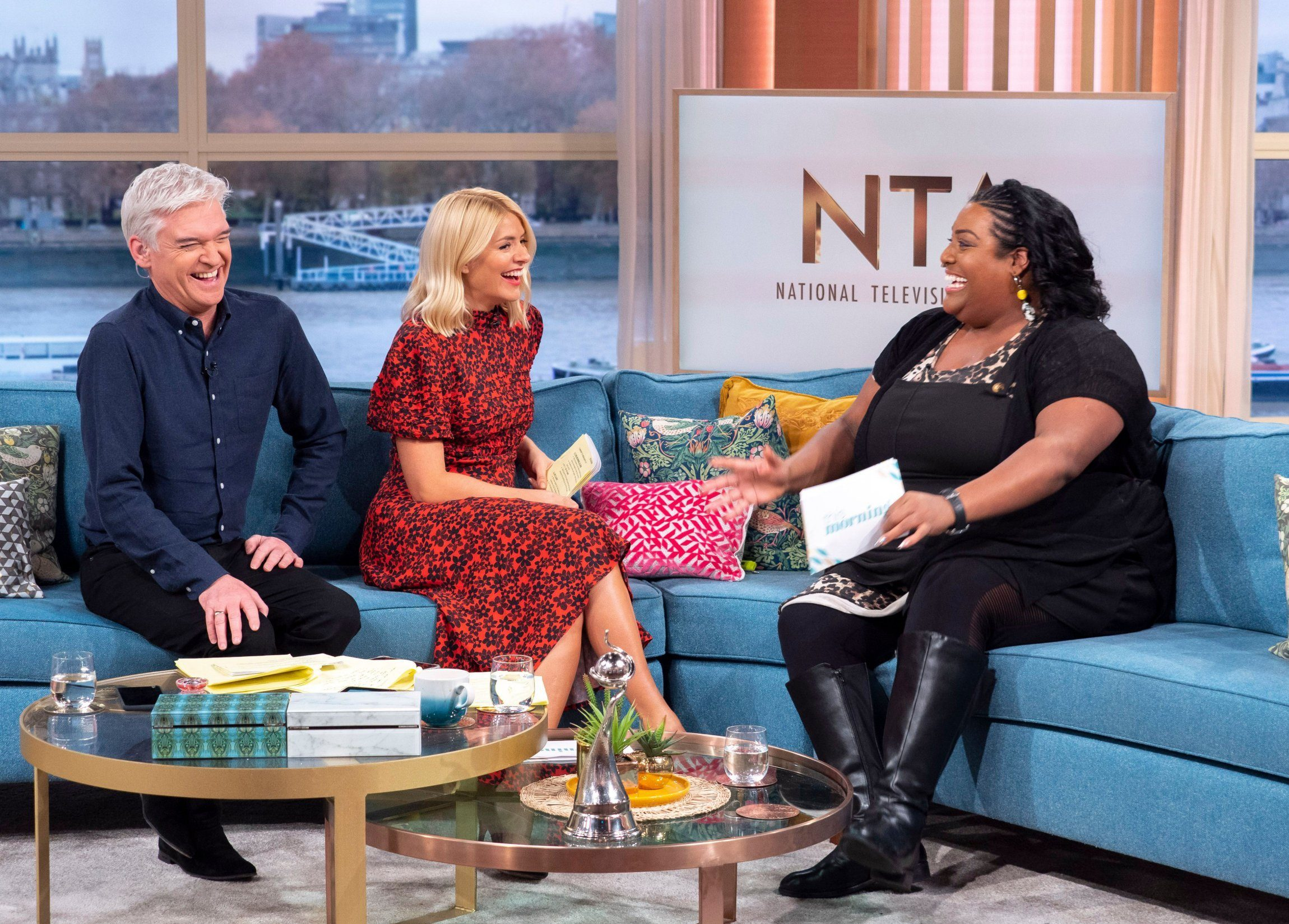 Editorial use only Mandatory Credit: Photo by Ken McKay/ITV/REX (10071238cm) Alison Hammond, Phillip Schofield and Holly Willoughby 'This Morning' TV show, London, UK - 23 Jan 2019