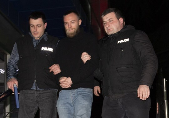 Jack Shepherd - Tbilisi. Jack Shepherd , the speedboat killer is led away in handcuffs by Georgian police where he will be held in a detention centre until his court appearance in Tbilisi, Georgia. Picture - Mark Large .... 23.01.19