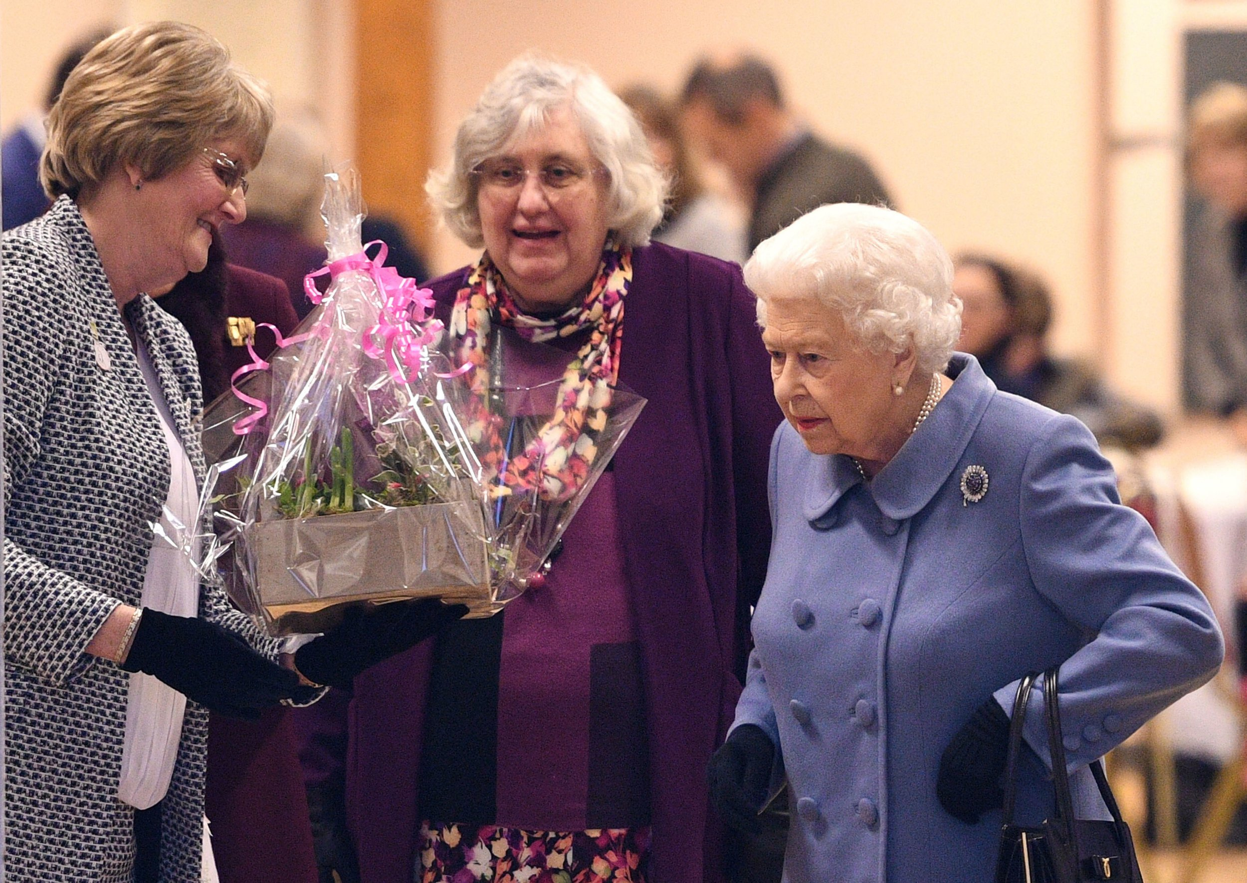 Queen Elizabeth II (right) leaves after attending a Sandringham Women's Institute (WI) meeting at West Newton Village Hall, Norfolk. PRESS ASSOCIATION Photo. Picture date: Thursday January 24, 2019. Photo credit should read: Joe Giddens/PA Wire
