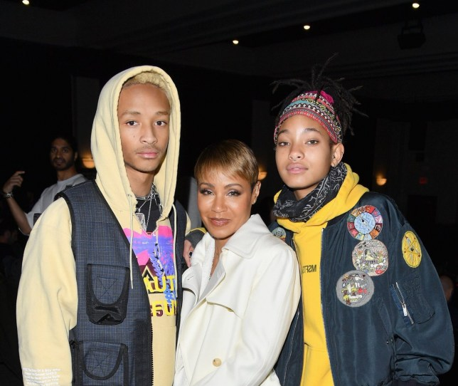"""PARK CITY, UT - JANUARY 26: (L-R) Jaden Smith, Jada Pinkett Smith, and Willow Smith attend the """"Hala"""" Premiere during the 2019 Sundance Film Festival at Library Center Theater on January 26, 2019 in Park City, Utah. (Photo by George Pimentel/Getty Images)"""