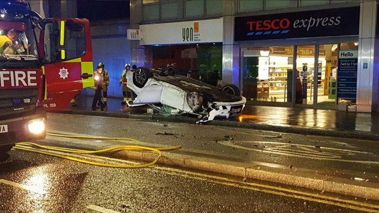 City of London Police handout photo of a crashed Audi car on the A40 Holborn Viaduct, London. PRESS ASSOCIATION Photo. Picture date: Sunday January 27, 2019. Police say the driver has been arrested. See PA story POLICE Car. Photo credit should read: City of London Police/PA Wire NOTE TO EDITORS: This handout photo may only be used in for editorial reporting purposes for the contemporaneous illustration of events, things or the people in the image or facts mentioned in the caption. Reuse of the picture may require further permission from the copyright holder.