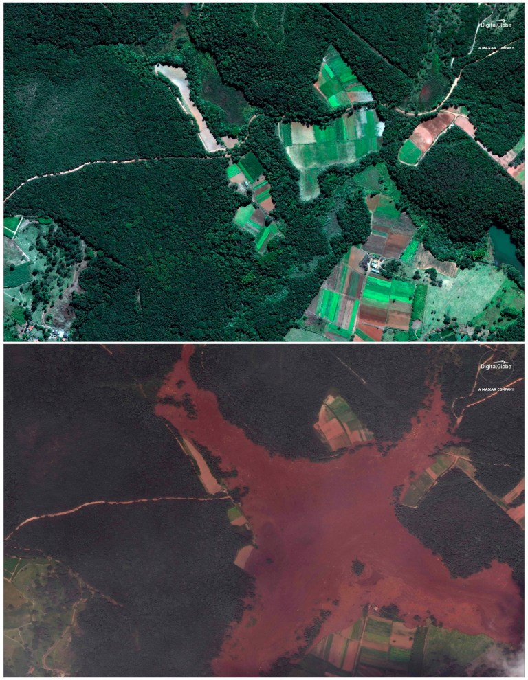 This combo of satellite images provided by DigitalGlobe??shows fields and farm homes just northeast of Brumadinho, Brazil on June 2, 2018, top, months before a dam collapsed and covered the area, below, seen on Saturday, Jan. 26, 2019. Brazilian officials suspended the search on Sunday, Jan. 27, 2019 for potential survivors of the Jan. 25 dam collapse that has killed at least 40 people amid fears that another nearby dam owned by the same company, Vale, was also at risk of breaching. (DigitalGlobe, a Maxar company via AP)