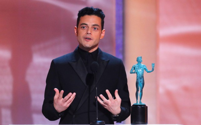 25th Screen Actors Guild Awards - Show - Los Angeles, California, U.S., January 27, 2019 - Actor Rami Malek reacts after winning Outstanding Performance by a Male Actor in a Leading Role in a Motion Picture for his work in Bohemian Rhapsody. REUTERS/Mike Blake