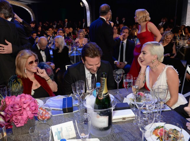 LOS ANGELES, CA - JANUARY 27: (L-R) Gloria Campano, Bradley Cooper, and Lady Gaga during the 25th Annual Screen Actors??Guild Awards at The Shrine Auditorium on January 27, 2019 in Los Angeles, California. (Photo by Kevork Djansezian/Getty Images)