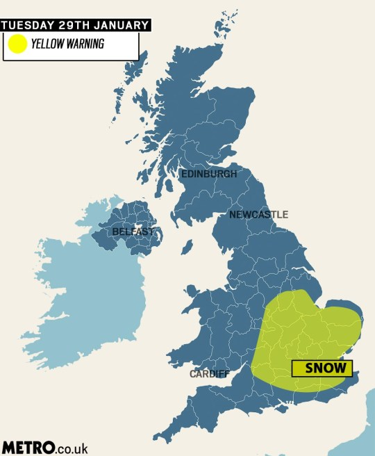 Up To Date Weather Map.Met Office Issues Yellow Weather Warning For Snow In London And
