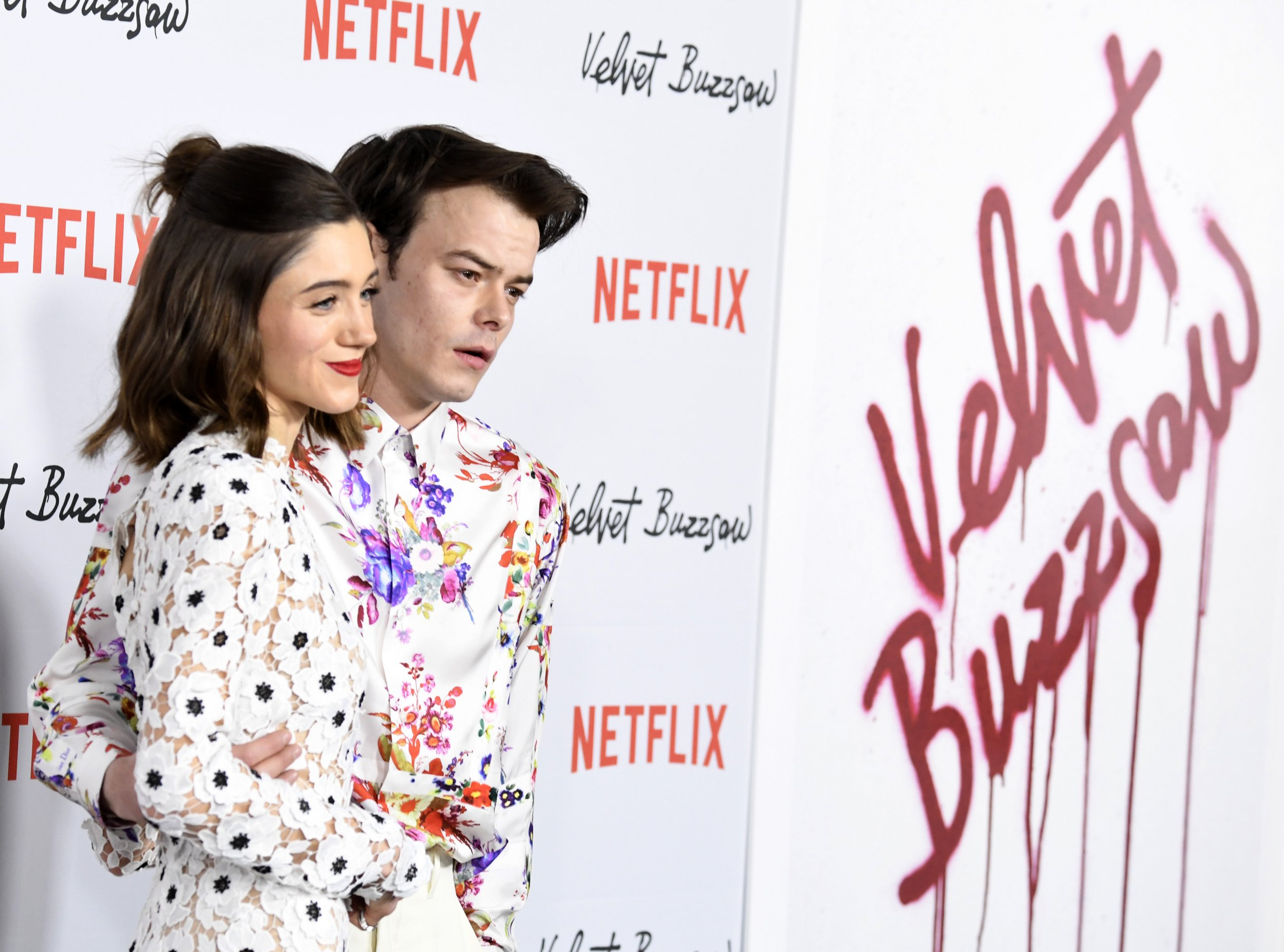 """HOLLYWOOD, CALIFORNIA - JANUARY 28: Charlie Heaton and Natalie Dyer attend the Los Angeles Premiere Screening Of """"Velvet Buzzsaw"""" at American Cinematheque's Egyptian Theatre on January 28, 2019 in Hollywood, California. (Photo by Frazer Harrison/Getty Images)"""