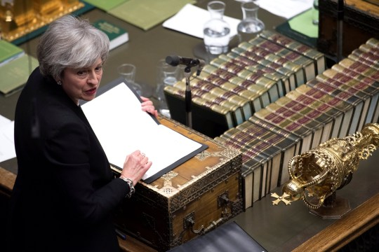 Britain's Prime Minister Theresa May speaks during a debate on her Brexit 'plan B' in Parliament, in London, Britain, January 29, 2019. UK Parliament/Jessica Taylor/Handout via REUTERS ATTENTION EDITORS - THIS IMAGE HAS BEEN SUPPLIED BY A THIRD PARTY.