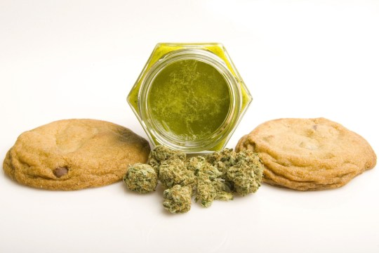SANTA MONICA, CA - SEPTEMBER 17, 2007: Medical cannibis edibles still life of chocolate chip cookies, cannabis butter and cannabis brand OG Kush. These are for legal sale in the state of California. (Photo by Bob Berg/Getty Images)